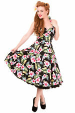 Black Hawaii Tropical Floral Print Halter Neck Vintage Swing Rockabilly Dress