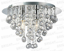 LED Round Chandelier 3 Light Chrome Ceiling Flush Fitting Crystal Droplets
