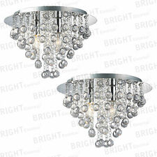 Pair Of LED Round Chandelier 3 Light Chrome Ceiling Flush Crystal Droplets