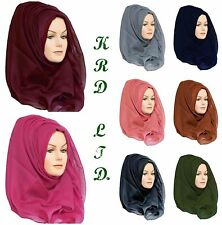 Ladies Plain Hijab Maxi Large Viscose/Rayon Shawl Scarf Sarong Wrap Big Cape UK