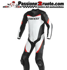 Tuta pelle intera Dainese Racing bianco nero rosso moto leather suit 1 piece