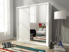 Bedroom Furniture Slider Large Double Wardrobe With 2 Sliding Doors Mirrored 200