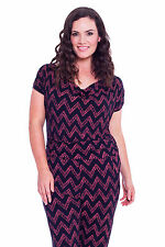 Womens Jumpsuit Ladies All in One Tie Back Zig Zag Print Stripe Plus Size