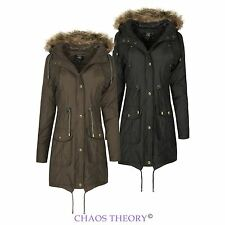 Ladies Womens New Fur Hooded Padded Quilted Jacket Fishtail Military Parka Coat
