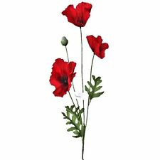 Artificial Flame Red Poppy Flower Spray Stems - Blood Red Poppies Remebrance Day