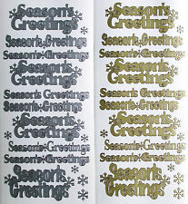 SEASONS GREETINGS WITH SNOWFLAKES PEEL OFF STICKERS GOLD OR SILVER CARDMAKING