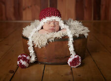 Hand Crochet Knitted Baby Hat Chunky Photo Prop Boy Pom Xmas Santa Newborn-12M