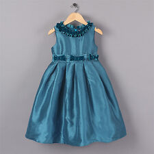 Kids Girls Party Formal Wedding Pageant Christening Dresses with Frilled Collar