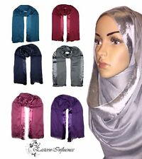 NEW SATIN STRIP SILK FEEL SHIMMER GLITTER HIJAB, SCARF, SHAWL, JILBAB, ABAYA.