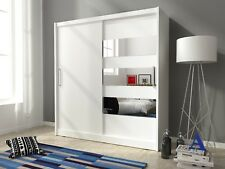 Bedroom furniture wardrobe mirrored 2 door sliding doors white sonoma oak