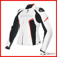 Giacca Donna Pelle Dainese Racing D1 Nera Bianca Rossa Fluo