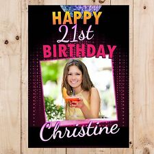 Personalised 18th 21st 30th 40th 50th Happy Birthday PHOTO Banner N59 ANY AGE