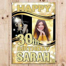 Personalised 18th 21st 30th 40th 50th 60 Happy Birthday PHOTO Banner N58 ANY AGE