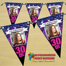 Personalised 18 21st 30 40 50 60th Happy Birthday PHOTO Flag Banner Bunting N49