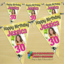 Personalised 18 21st 30 40 50 60th Happy Birthday PHOTO Flag Banner Bunting N50