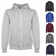Mens Plain Fleece Zip Up Hoody Jacket Sweatshirt Hooded Activewear Hoodies BNWT