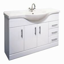 High Gloss White Bathroom Cloakroom 1200mm Vanity Cabinet Unit, Basin & Tap