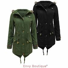 Brave Soul Ladies Fur Oversized Hood Military Fishtail Padded Parka Coat Jacket