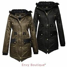 Brave Soul Ladies Womens Fur Hood Parka Jacket Fishtail Military Coat Sizes 8-16