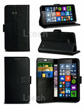 Carbon Fibre Effect Wallet Flip Book Case Cover with Stand for Various Phones