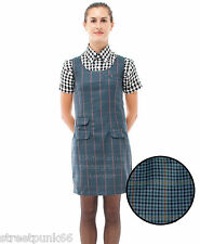 Relco Womens Blue Tweed Pinafore Dress 60s Mod Skin Ska Skinbryd