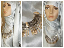 NEW SILVER INDIAN NAVAJO BALI NECKLACE CHOKER CHAIN HIJAB SCARF SHAWL SCARVE