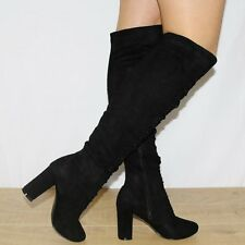 WOMENS BLACK OVER THE KNEE LACE UPS UP STRETCH FAUX SUEDE BOOTS HIGH HEELS SHOES