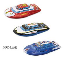 Kids Traditional Tin Boat Toy Friction Sound Boys Christmas Gift Stocking Filler