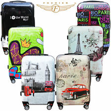 Hard Shell 4 Wheels Suitcase Trolley Luggage Travel Cabin Bag Vintage Printing