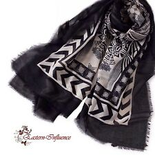 NEW BLACK WHITE MAXI COTTON BLEND WRAP SCARVE PASHMINA HIJAB SCARF SHAWL ABAYA