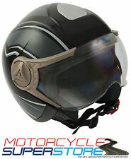GSB GRAPHIC BLACK MOTORCYCLE SCOOTER COMMUTER OPEN FACE HELMET WITH HALF VISOR