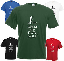 Keep Calm and Play Golf t shirt Divertente Maglietta Top REGALO GIOCATORE