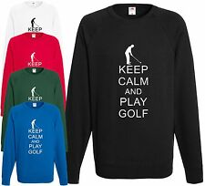 Keep Calm and play golf Felpa Divertente Golf Top REGALO GIOCATORE GOLF
