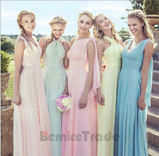 New Chiffon Bridesmaid Formal Long Ball Gown Party Prom Evening Dress Size 6-16