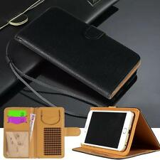 Black Magnetic Flip Cover Stand Wallet Card Leather Case For Various Smartphones
