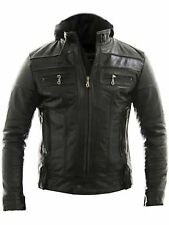 Racing Jacket Motorbike Motorcycle Leather Biker Jacket Detach Hood - ALL SIZES