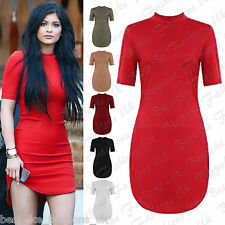Ladies Women's Celeb Inspire Polo Neck Bodycon Short Mini Curve Hem Tunic Dress