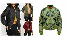 NEW LADIES WOMENS CLASSIC ZIP UP JACKET GIRLS VINTAGE BOMBER JACKET