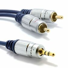 3.5mm Jack to 2 RCA Cable Twin Phono Plugs Stereo Audio OFC Lead + 24K GOLD UK