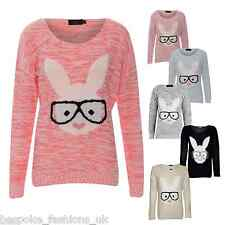 Ladies Women's Bunny Rabbit Geek Animal Long Sleeve Knit Jumper Sweatshirt Top