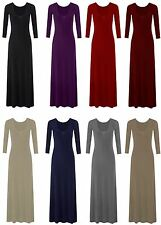 WOMENS LADIES LONG SLEEVES FLARED PLAIN LONG STRETCHY MAXI DRESS PLUS SIZE 8-26
