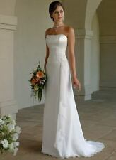 White ivory Chiffon Wedding Bridal dress Gown bridesmaid Dresses Stock Size 6-16