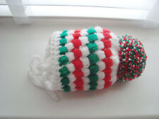 baby boy hat ,  crochet , hand made white , red , green , pom pom