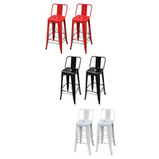 New Steel Bar Chair High Chairs Bar Stools Square Backrest 2pcs White/Black/Red