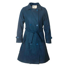 Classic Woollen Winter Double Breasted Blue Trench Coat Jacket for Women