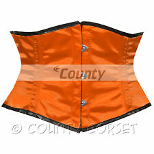 Cincher Mini Waspie Shaper Steel Boned Waistbust Orange Satin Corset Size S/24""