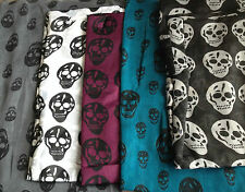 BRAND NEW SEALED Skull Print Scarf Black White Turquoise Purple FREE P&P