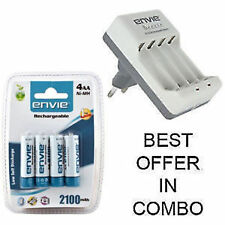 Envie 2Pc/4Pc 2100 mAh Rechargeable Batteries With AA/AAA Beetle Charger Option