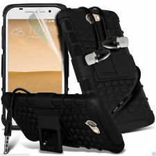 Shockproof Dual Layer Heavy Duty Case Cover+In Ear Stereo Headset for HTC
