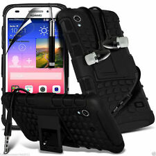 Shockproof Dual Layer Heavy Duty Case Cover+In Ear Stereo Headset for Huawei